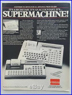 1982 Sharp Printing Calculator Typewriter Office Equipment Vtg Magazine Print Ad