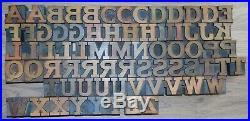 73 Wood Letterpress Printing Blocks Type Capital Alphabet 1 5/16 Tall