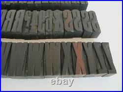 A TO Z ALPHABET / ANTIQUE WOODEN TYPE / FONT / PRINTING BLOCKS / 5 CM HIGH 67 pc