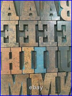 Antique VTG Wood Letterpress Print Type Block A-Z Letters Numbers Comp Set 101pc