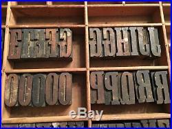 Antique Wood Letterpress Printing Press Type Block Letters Typeset Blocks 66 pc