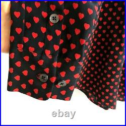EQUIPMENT X Kate Moss Heart Print Signature Silk Pussy Bow Blouse MSRP $298 Sz S