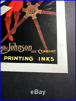 Eneu Johnson Printing Ink Poster Sign Original 1927 Farmer & Equipment Funky Ar