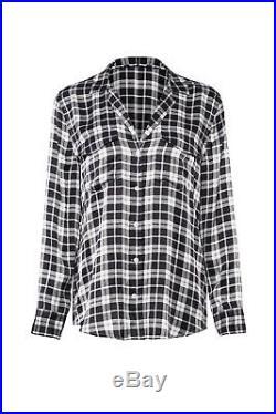 Equipment Black Women's Size XL Plaid Printed Button Down Shirt Silk $278- #368