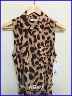 Equipment Femme Womens Small Leopard Print 100% Silk Sleeveless Shirt Dress