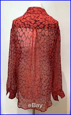 Equipment Red Leopard Print Shirt Blouse M RPR £225