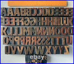 FABULOUS Vintage Wood Type Letterpress Set 43mm Printers Letter x72 Xmas Display