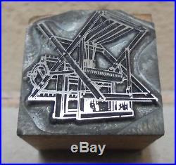 Factory Equipment Letterpress Printing Block Vintage