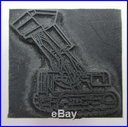 Front Loader Tractor Image Letterpress Printing Block Construction Equipment vtg