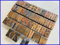 Gorgeous ORIGINAL Vintage Set Printers Wood Type 60mm Block Letters x59 Display