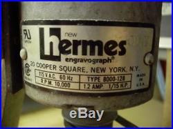 Hermes Engravograph 8000-128 Engraving Machine 115vac 1/15hp Antique! Vintage