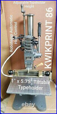 Hot Foil Stamping Machine KWIKPRINT 86 Lightly Used Typeholder 1x 5.75