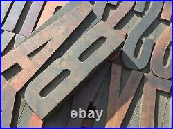 Large 4 Antique VTG Wood Letterpress Print Type Block A-Z Letters #s Comp. Set
