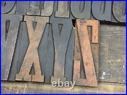 Large 5 Antique VTG Page Clarendon Wood Letterpress Print Type Block Letter Set