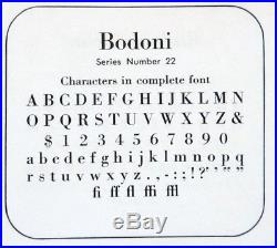 Letterpress Metal Type ATF 24 pt BODONI complete font excellent