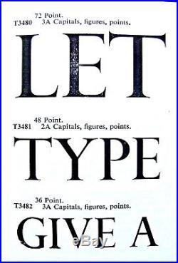 Letterpress Printing ADANA METAL TYPE 72pt PERPETUA TITLE 3A Complete Over 5Kg