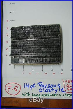 Letterpress Type 14 pt. Parsons Oldstyle (BB&S) Extremely Rare