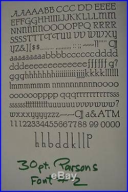 Letterpress Type 30 pt. Parsons (BB&S) Extremely Rare! Font 2