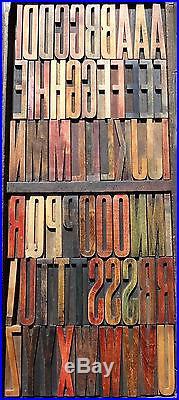 Letterpress WOOD Type 5 ALPHABET 60pcs Exceptional Rare VERY SLIM Typeface
