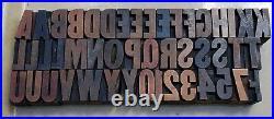 Letterpress Wood Type 8 Line 1 5/16 Letters 47 Pieces