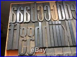 Letterpress Wood Type Full Font Art Deco Condensed Lower