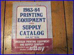 Printing Equipment & Supply Catalog USA 1983-84- American Printing Supply Co
