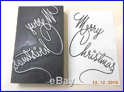 Printing Letterpress Printers Block, Merry Christmas Card Antique, Printers Cut