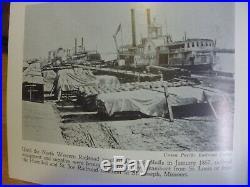 Steamboat transporting Railroad equipment Historical Iowa Printing Press Block