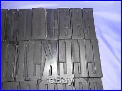 Vtg Letterpress Wood Printer's Type 1800's 57 Pcs 3 7/8 Letter