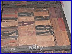 Vintage Large Printers Drawer Full of Wooden Printing Blocks Letters & Numbers