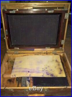Vintage Printing Equipment Cosmos screen printer in a wooden case