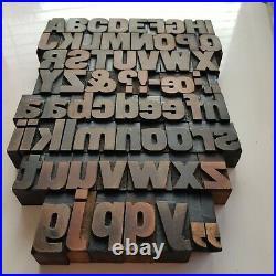Vintage Wood Letterpress Printing Blocks 34m high alphabet + ampersand etc
